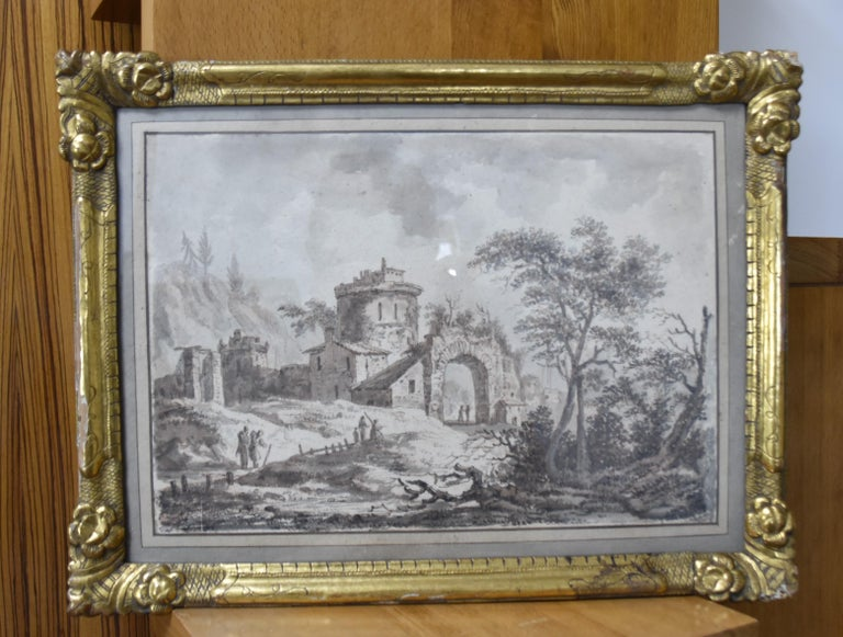 France, 18th Century, View of a fortified village, drawing - Old Masters Art by Unknown
