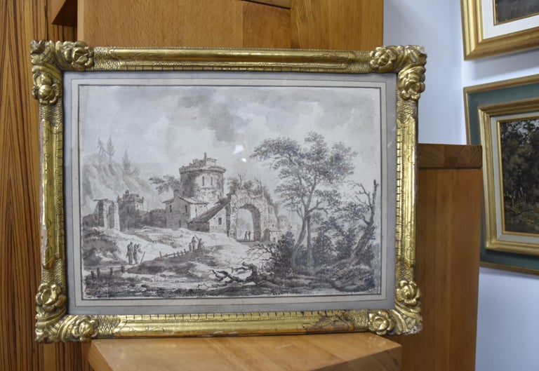 France, 18th Century, View of a fortified village, drawing For Sale 4