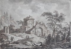 France, 18th Century, View of a fortified village, drawing