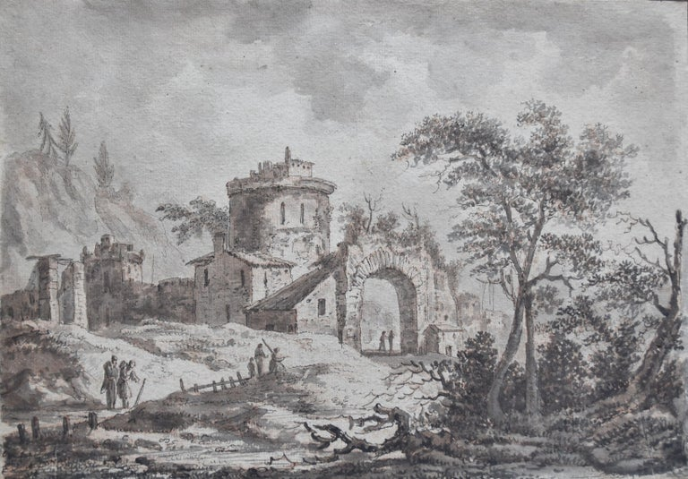Unknown Figurative Art - France, 18th Century, View of a fortified village, drawing