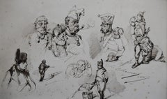 Edouard Chevret (1835-1874), Napoleon and his soldiers, Studies, 1860, drawing