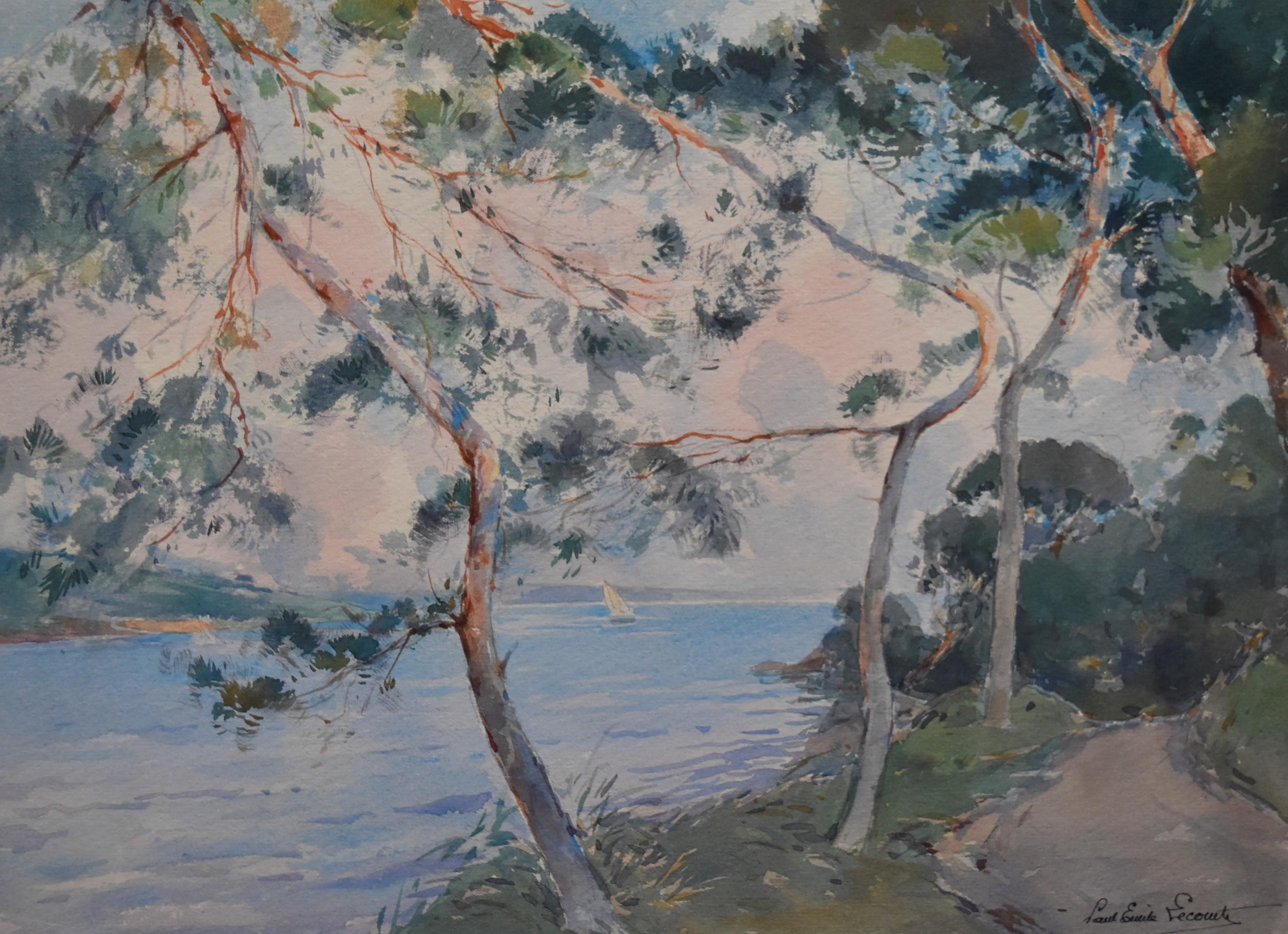 Paul Emile Lecomte (1877-1950)  La Rance, seaside with pines, watercolor