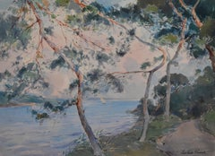 Paul Emile Lecomte (1877-1950)  La Rance, seaside with pines, watercolor