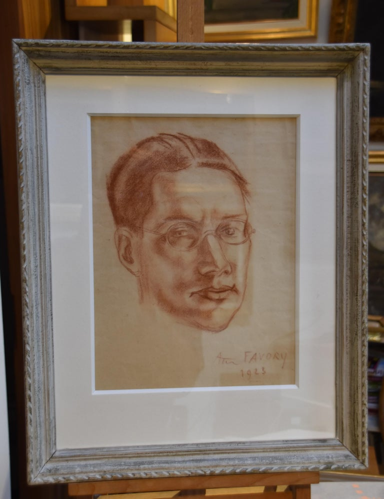 André Favory (1889-1937) Portrait of the poet Jacques Portail, 1923, red chalk  For Sale 1