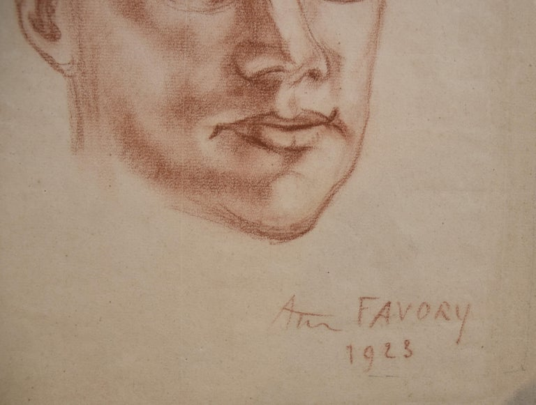 André Favory (1889-1937) Portrait of the poet Jacques Portail, 1923, red chalk  For Sale 2