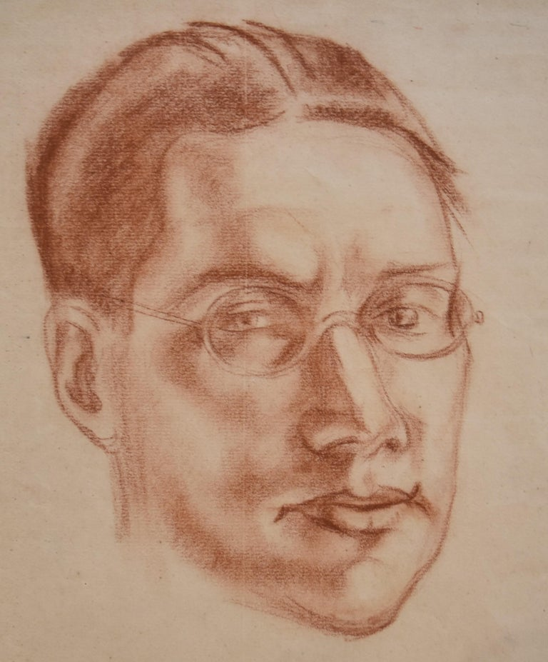 André Favory (1889-1937) Portrait of the poet Jacques Portail, 1923, red chalk  For Sale 4