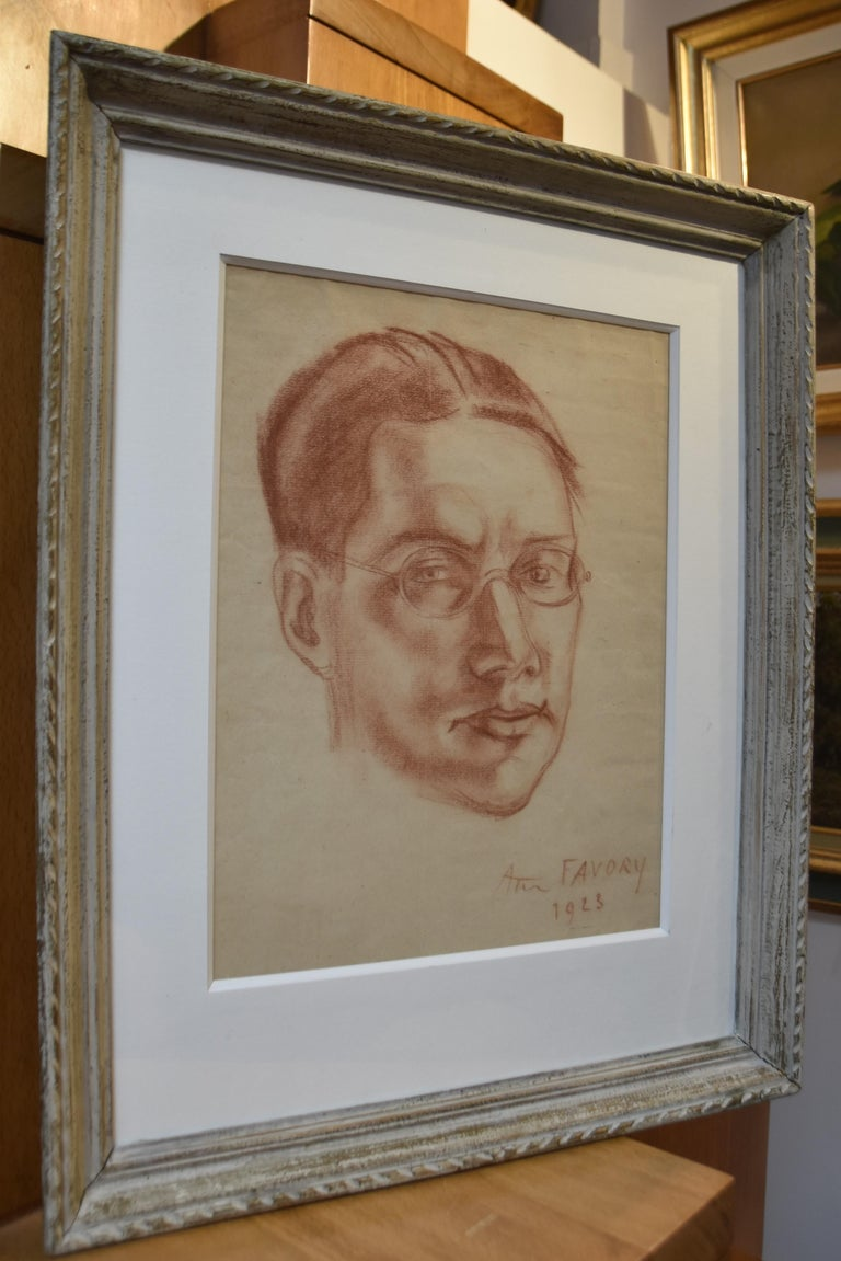 André Favory (1889-1937) Portrait of the poet Jacques Portail, 1923, red chalk  For Sale 6