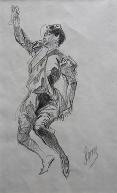 Jules Cheret (1836-1932) A bullfighter, charcoal drawing, signed