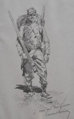 Edouard Detaille (1848 1912), A franco-prussian war soldier, original Drawing