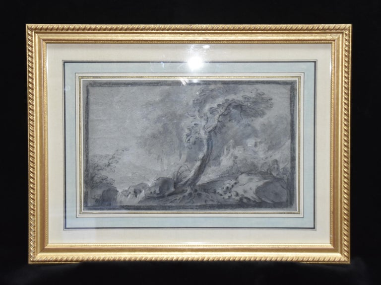 France 18th Century, Imaginary Lanscape, original drawing - Art by Unknown