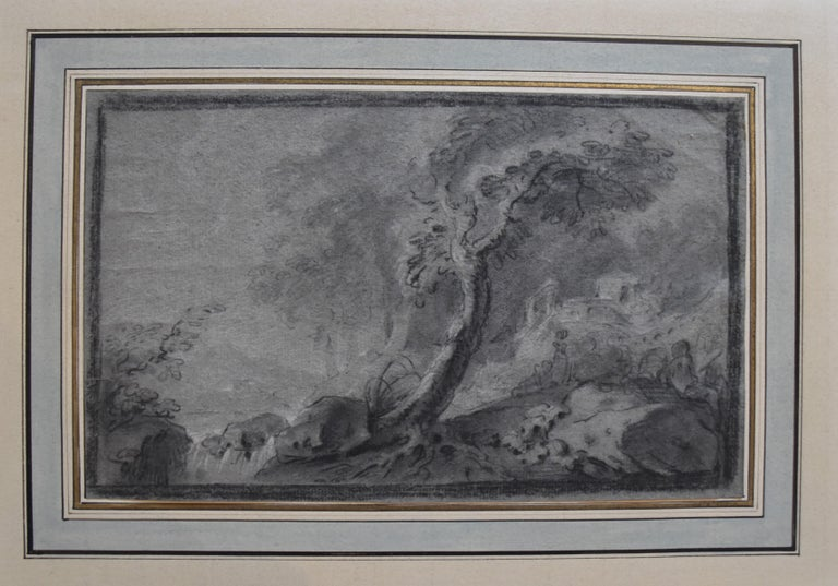 France 18th Century, Imaginary Lanscape, original drawing - Old Masters Art by Unknown
