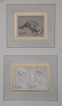 Charles-Emile Jacque (1813-1894) Studies of Sheep's Heads, 3 drawings