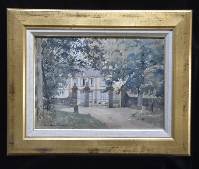 Paul Emile Lecomte (1877-1950)  La Cour d'honneur, watercolor signed - Post-Impressionist Art by Paul Emile Lecomte
