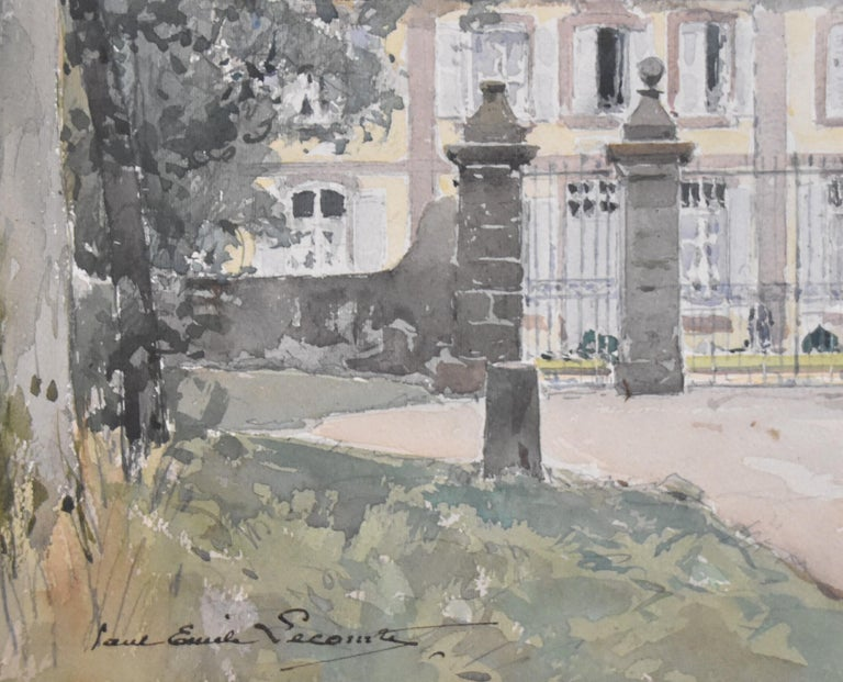 Paul Emile Lecomte (1877-1950)  La Cour d'honneur, watercolor signed - Gray Figurative Art by Paul Emile Lecomte