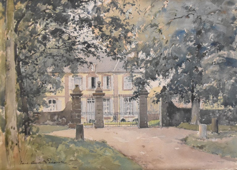 Paul Emile Lecomte (1877-1950)  La Cour d'honneur, watercolor signed - Art by Paul Emile Lecomte