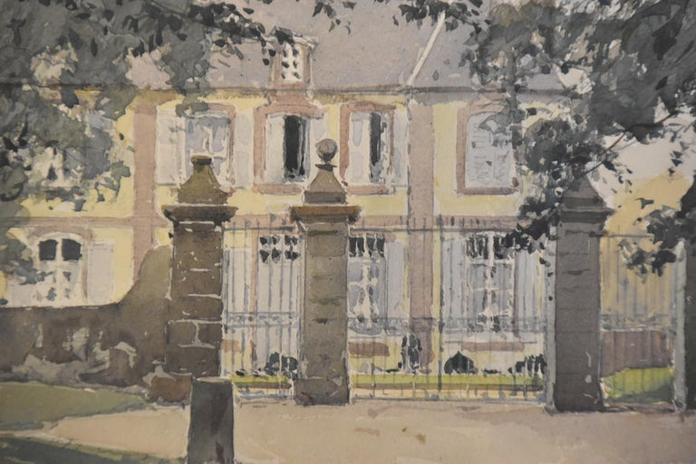 Paul Emile Lecomte (1877-1950) La Cour d'honneur (a View of a castle) Signed lower left Watercolor on paper Titled on the reverse of the watercolor 'La cour d'honneur