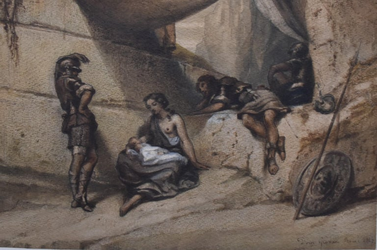 Antique Scene, Woman and Infant with guards, watercolor signed dated 1847 - Romantic Art by Unknown