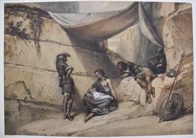 Antique Scene, Woman and Infant with guards, watercolor signed dated 1847 For Sale 1