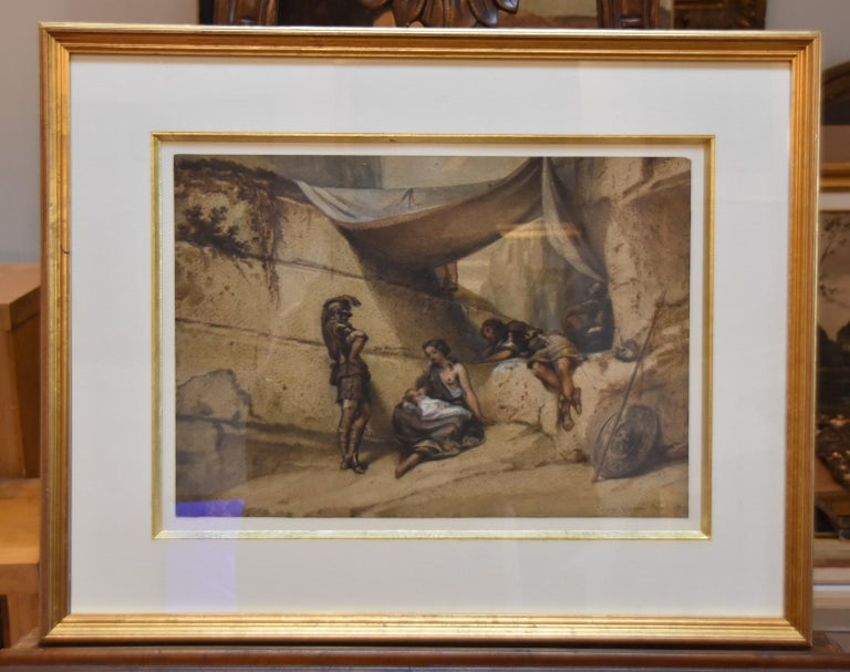 Antique Scene, Woman and Infant with guards, watercolor signed dated 1847 - Art by Unknown