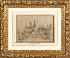 Charles Emile JACQUE (Paris 1813 - 1894) Hens and rooster, preparatory drawing