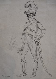 Edouard Detaille (1848 1912), A Cavalier of the guard, original Drawing