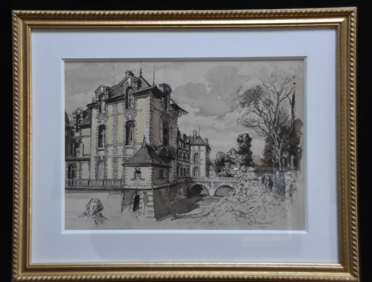 France early 20th centuryView of the Grosbois castle and head study, watercolor - Art by Unknown