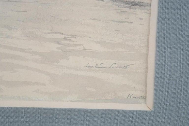 Paul Emile Lecomte (1877-1950)  Le Port de Nantes, inkwash drawing - Post-Impressionist Art by Paul Emile Lecomte