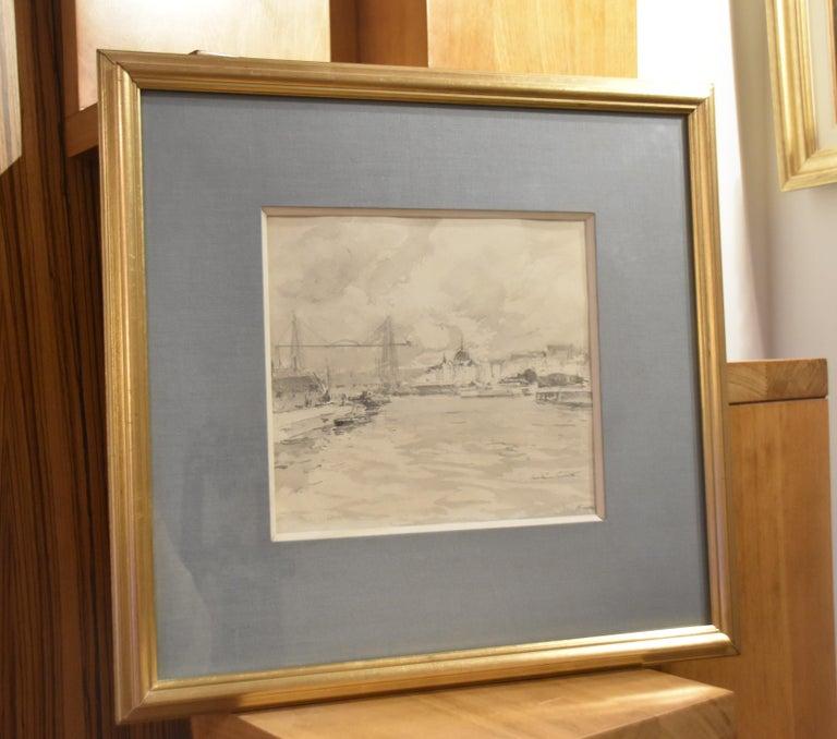 Paul Emile Lecomte (1877-1950)  Le Port de Nantes, inkwash drawing - Gray Landscape Art by Paul Emile Lecomte