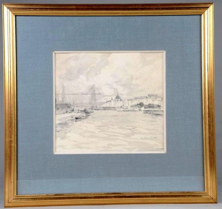 Paul Emile Lecomte (1877-1950)  Le Port de Nantes, inkwash drawing - Art by Paul Emile Lecomte