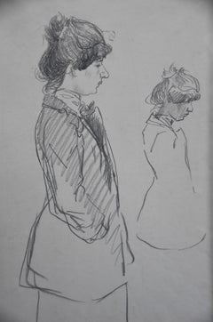Theophile Alexandre Steinlen (1859-1923) Two studies of a woman, drawing