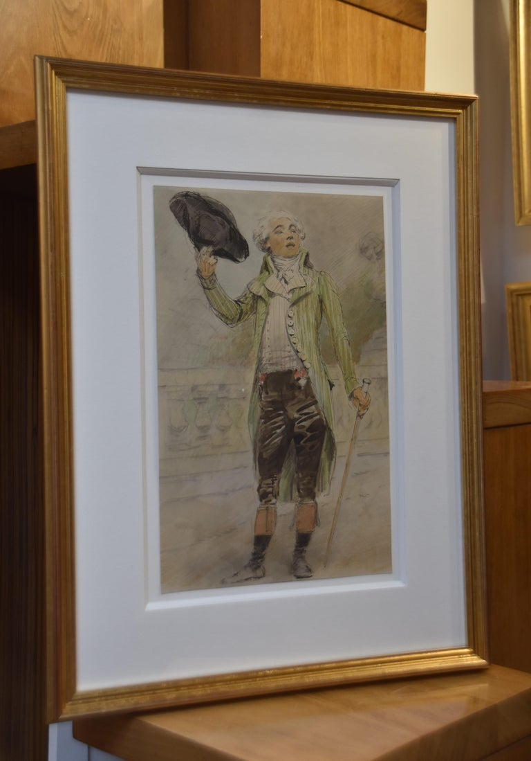 French Shool, 19th century A Portrait of a young man of the french Revolution era Pen, black ink and watercolor on paper 31 x 20 cm Framed : 49 x 37 cm In good condition, slightly yellowed by time.   This watercolor Has been attributed to Edouard
