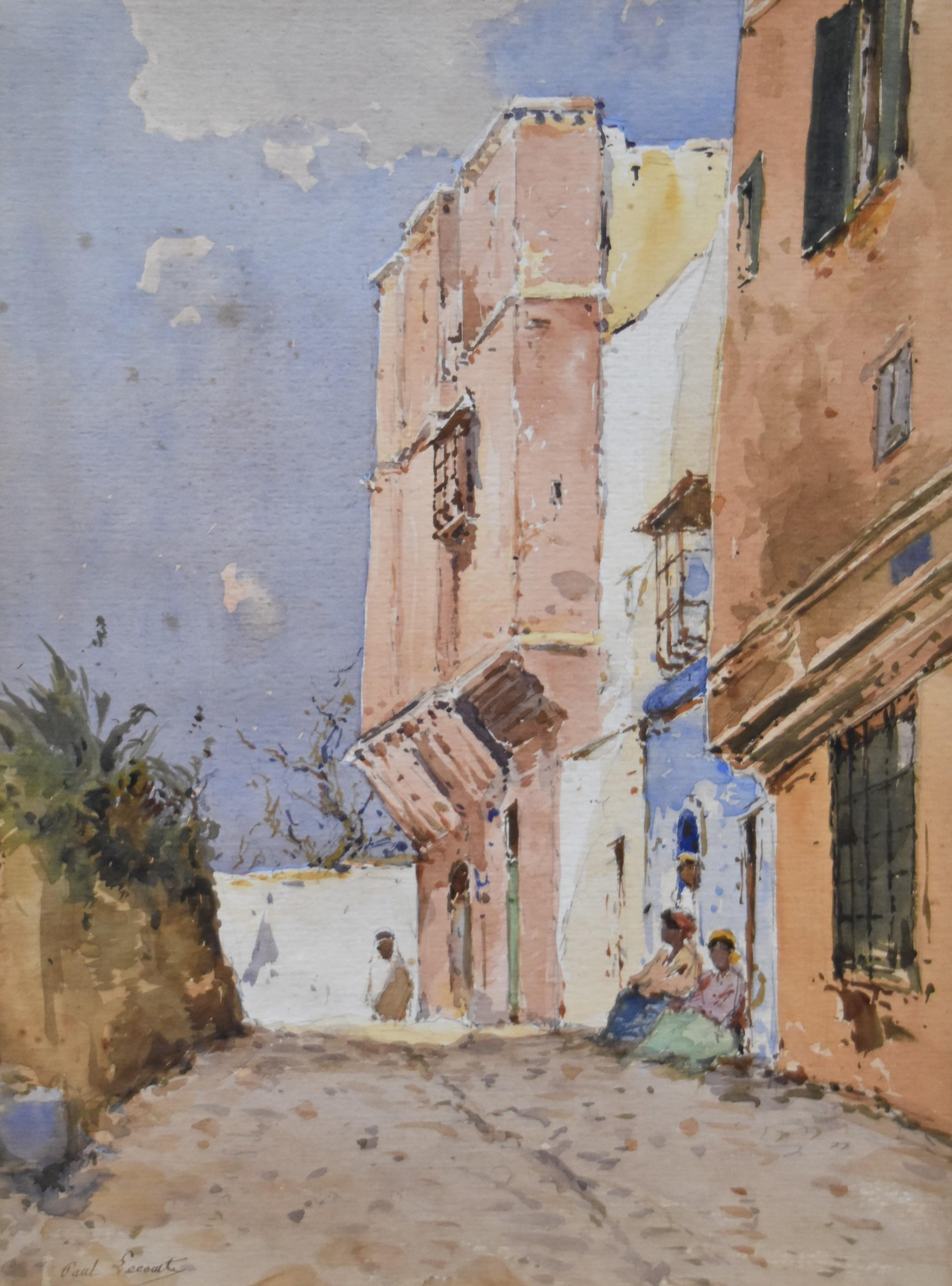 Paul Lecomte (1842-1920) A street in North africa, watercolor