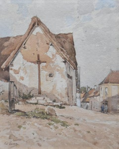Paul Lecomte (1842-1920) A village street with a calvary, watercolor