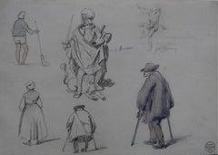 Denis Auguste Raffet (1804-1860) Studies of characters, drawing and watercolor