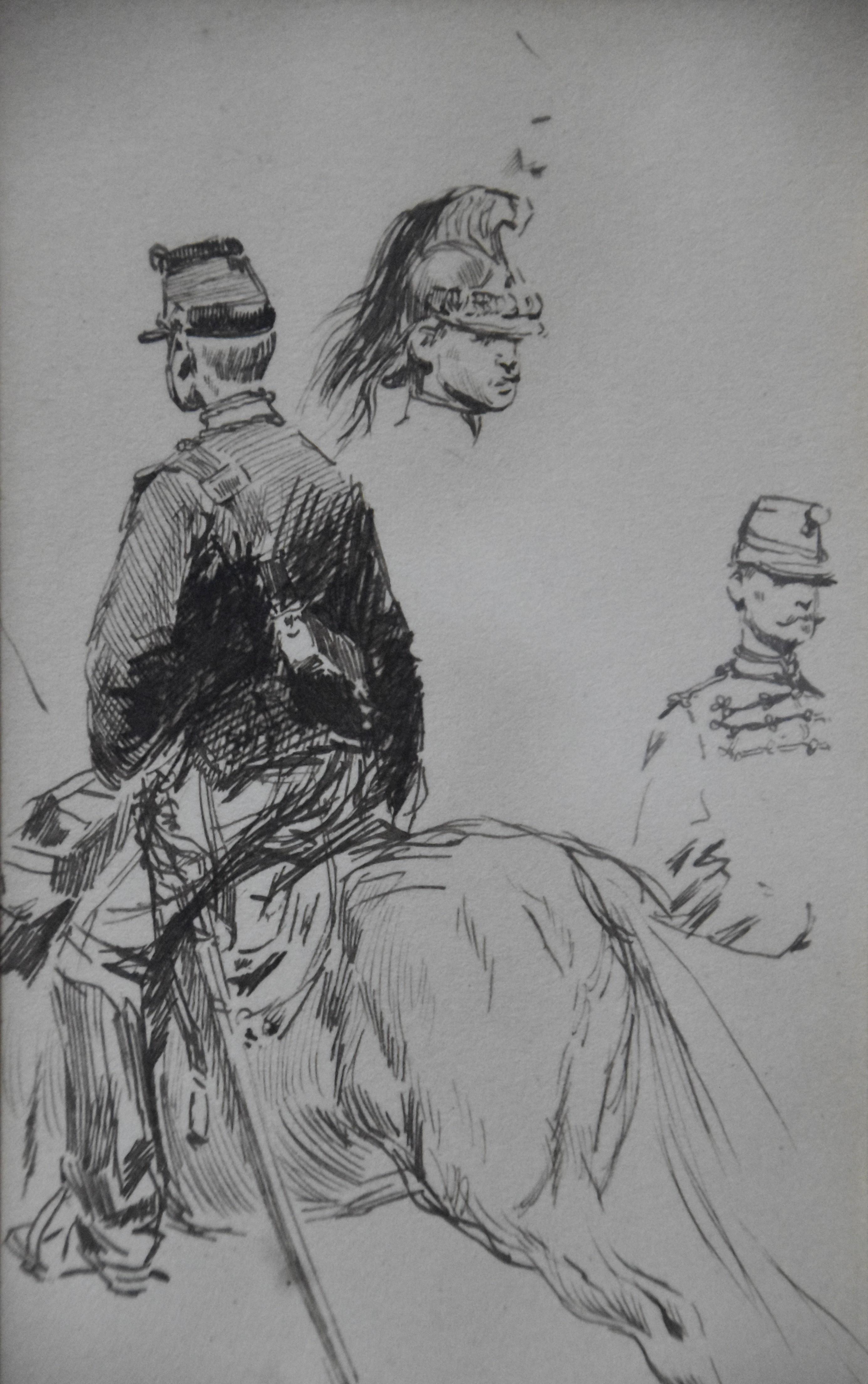 Edouard Detaille (1848 1912), Studies of horseguards, original Drawing