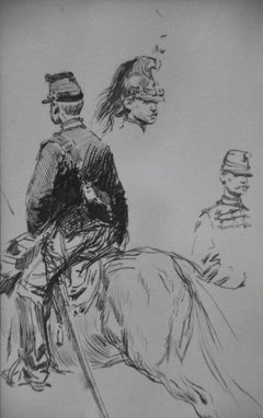 Edouard Detaille (1848 1912), Studies of horseguards, original Drawing