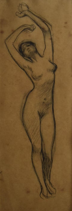 G A  Rochegrosse (1859-1938) A naked woman, Study for Salammbo, original drawing