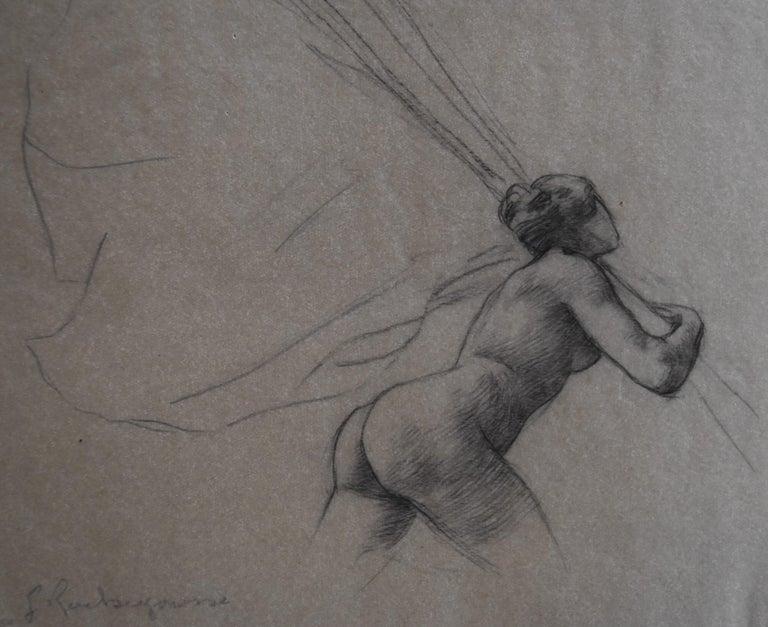 Georges Antoine Rochegrosse Nude - G. A. Rochegrosse (1859-1938) Study for Les Trophées, original drawing