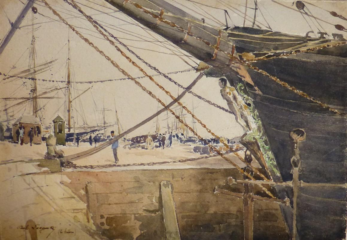 Paul Lecomte (1842-1920)  Boats at Le Havre, watercolor