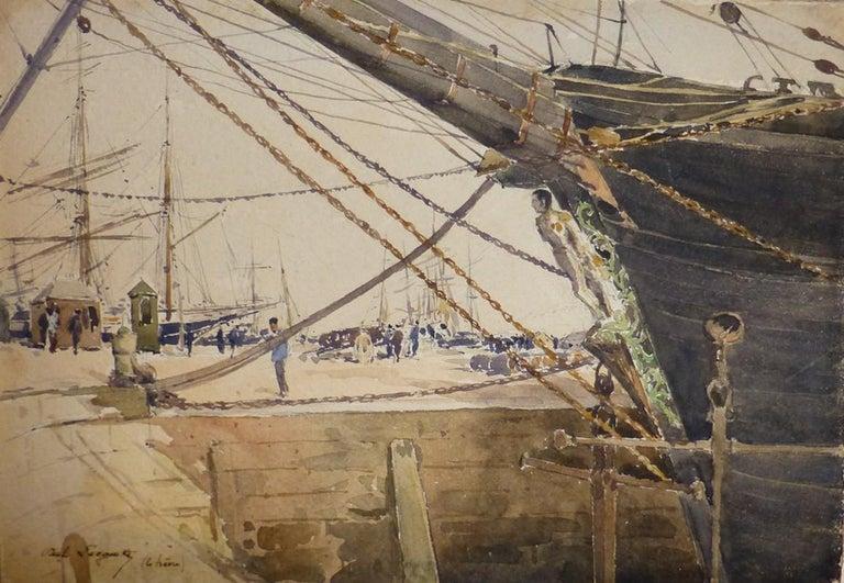Paul Lecomte (1842-1920)  Boats at Le Havre, watercolor - Art by Paul Lecomte