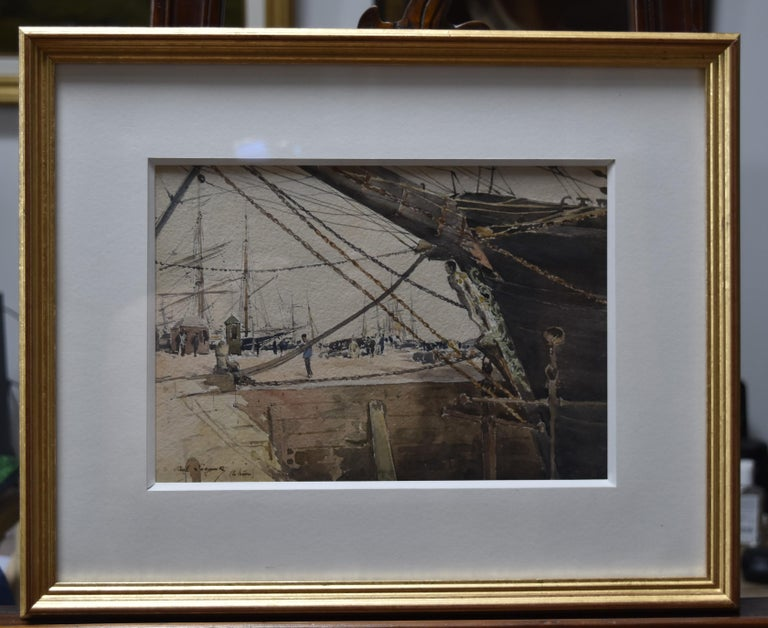 Paul Lecomte (1842-1920)  Boats at Le Havre, watercolor - Impressionist Art by Paul Lecomte