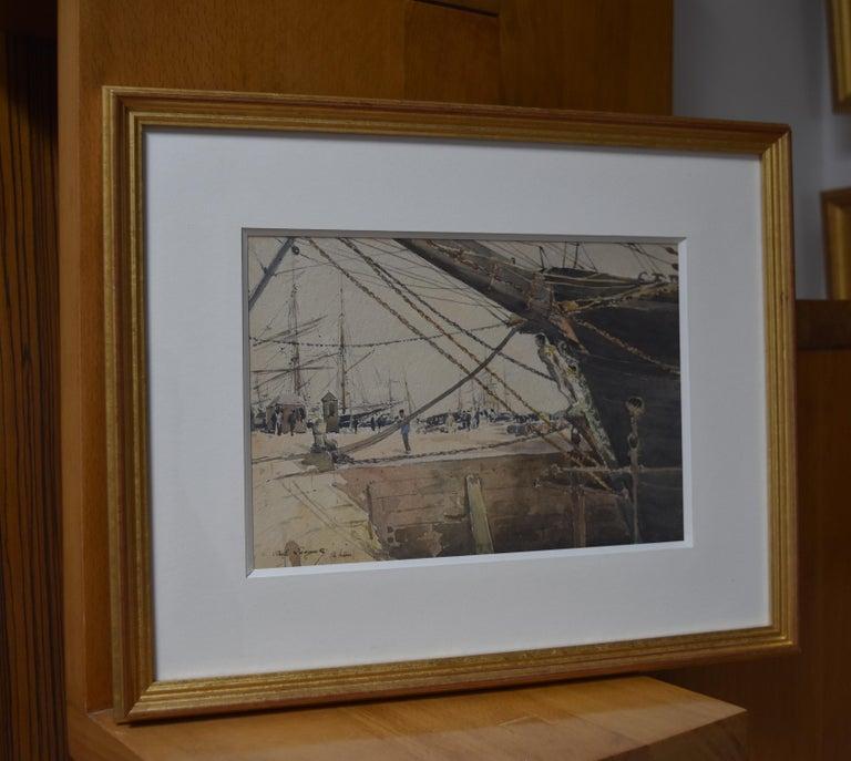 Paul Lecomte (1842-1920)  Boats at Le Havre, watercolor - Brown Figurative Art by Paul Lecomte