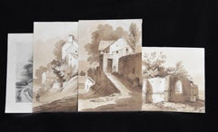 France 19th century, A Set of 6 drawings, landscapes and farms, Ink wash on pape