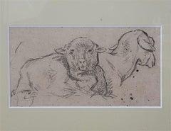 Charles Emile JACQUE (Paris 1813 - 1894) Two sheeps, studies drawing