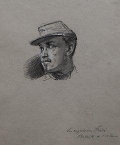 Isidore Pils (1813-1875) Portrait of the Capitaine Fiévé, original drawing