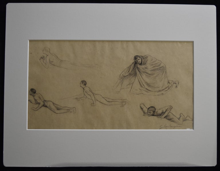 G. A. Rochegrosse (1859-1938) Studies of men, original drawing - Art by Georges Antoine Rochegrosse