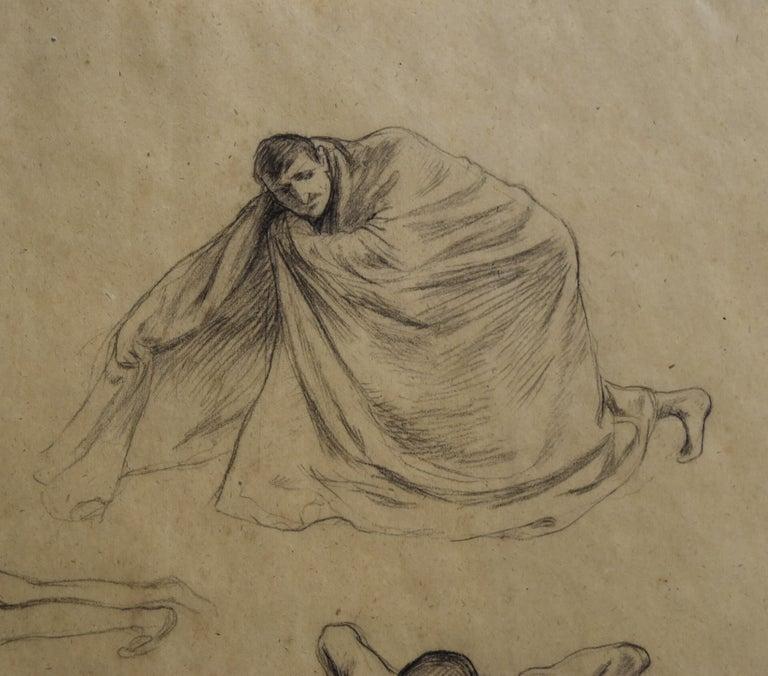 G. A. Rochegrosse (1859-1938) Studies of men, original drawing - Brown Nude by Georges Antoine Rochegrosse
