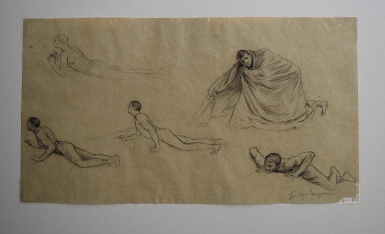 G. A. Rochegrosse (1859-1938) Studies of men, original drawing - Symbolist Art by Georges Antoine Rochegrosse