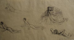 G. A. Rochegrosse (1859-1938) Studies of men, original drawing