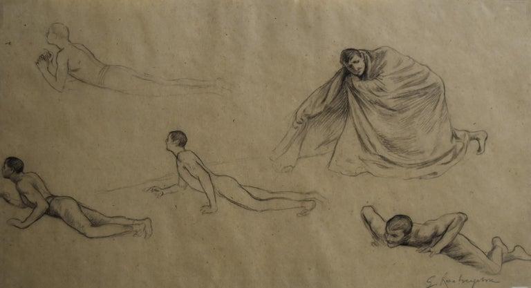 Georges Antoine Rochegrosse Nude - G. A. Rochegrosse (1859-1938) Studies of men, original drawing